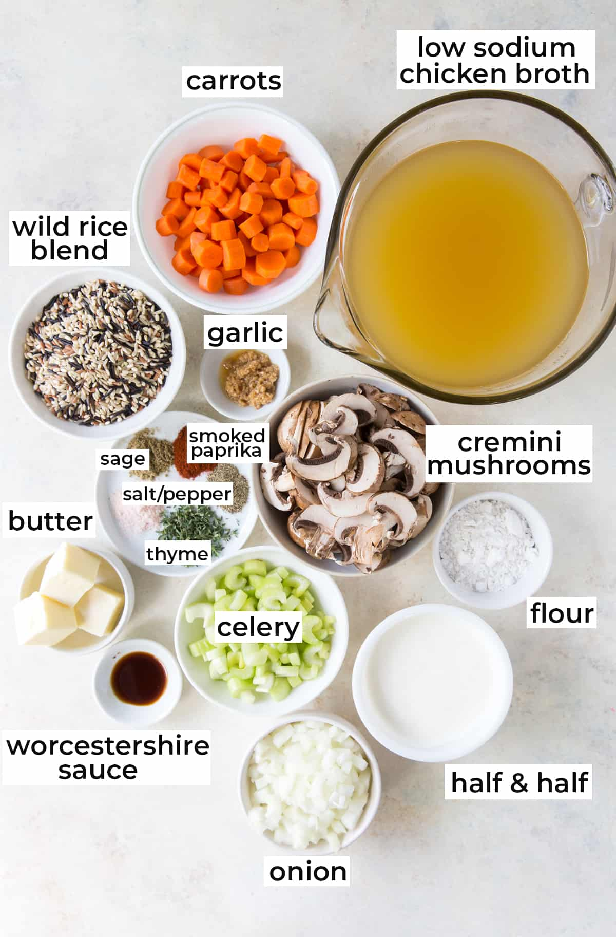 All the ingredients needed to make Wild Rice Mushroom Soup.
