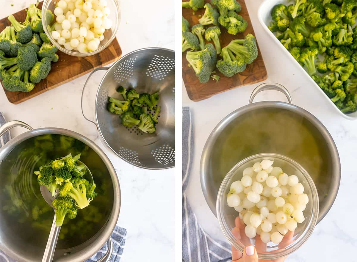 Broccoli florets and pearl onions are boiled in a pot of water.