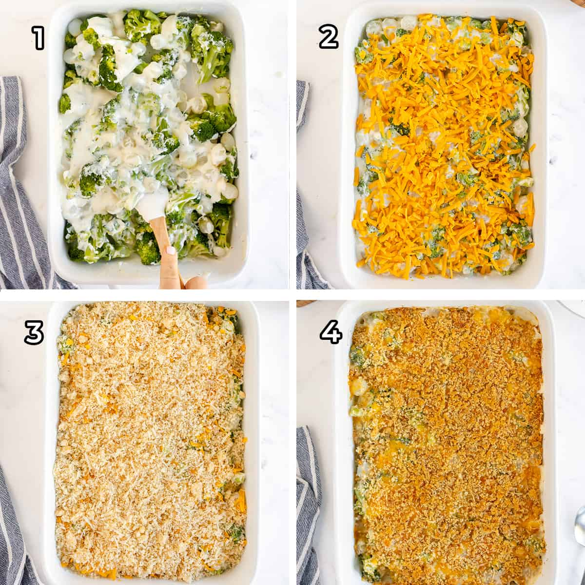 Broccoli and pearl onions mixed with a white sauce and topped with soft bread crumbs in a casserole dish.