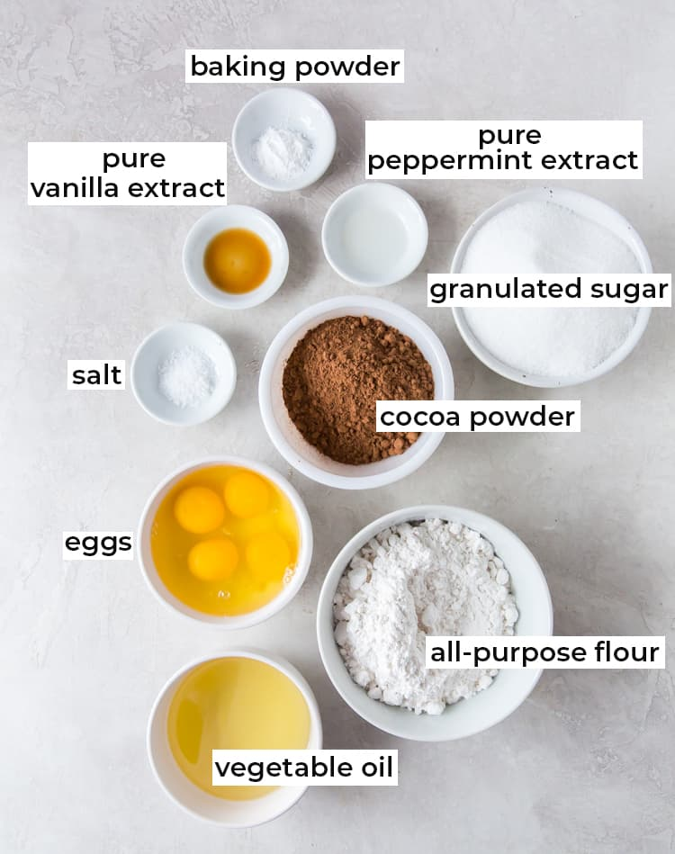 The ingredients needed to make Chocolate Peppermint Crinkles with text overlay.