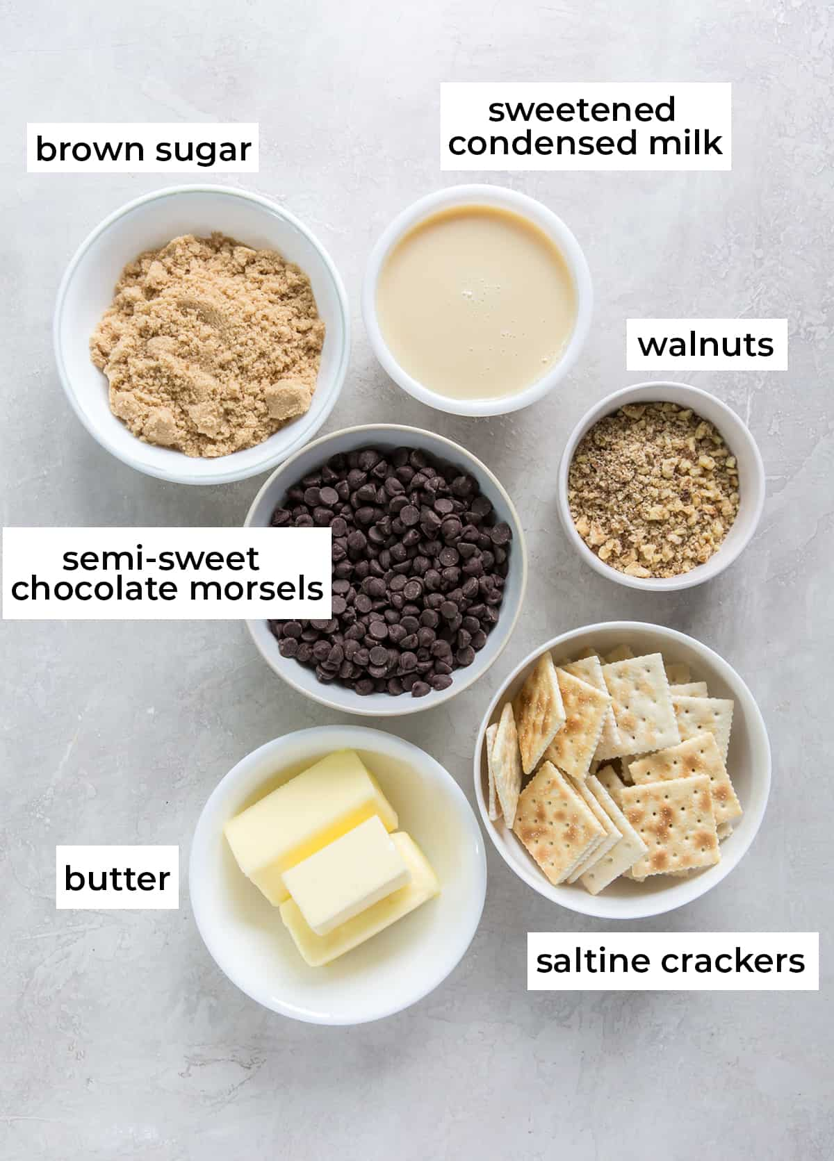 The ingredients needed to make Easy Toffee Candy with text overlay.