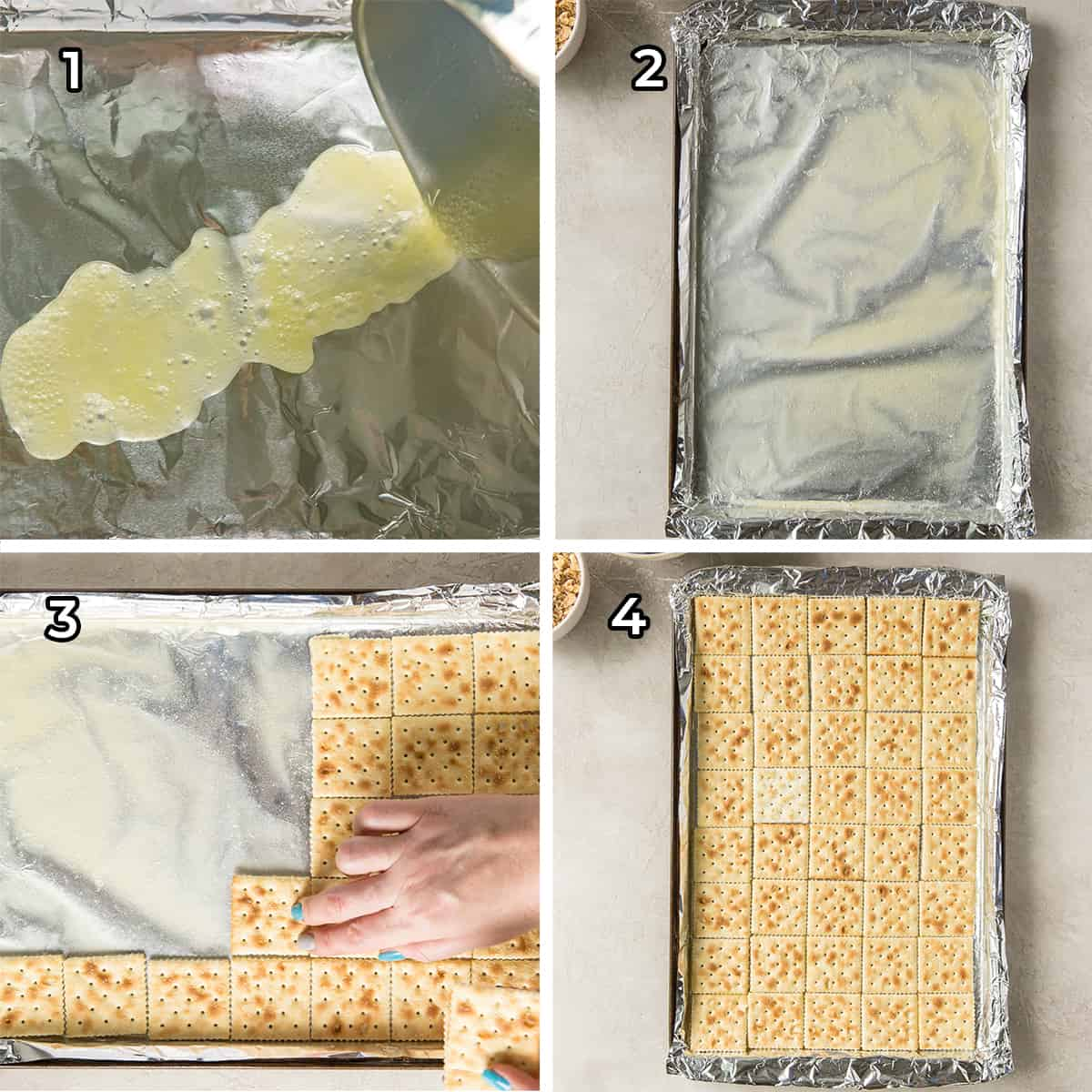 Melted butter and saltines on a foil lined baking sheet.