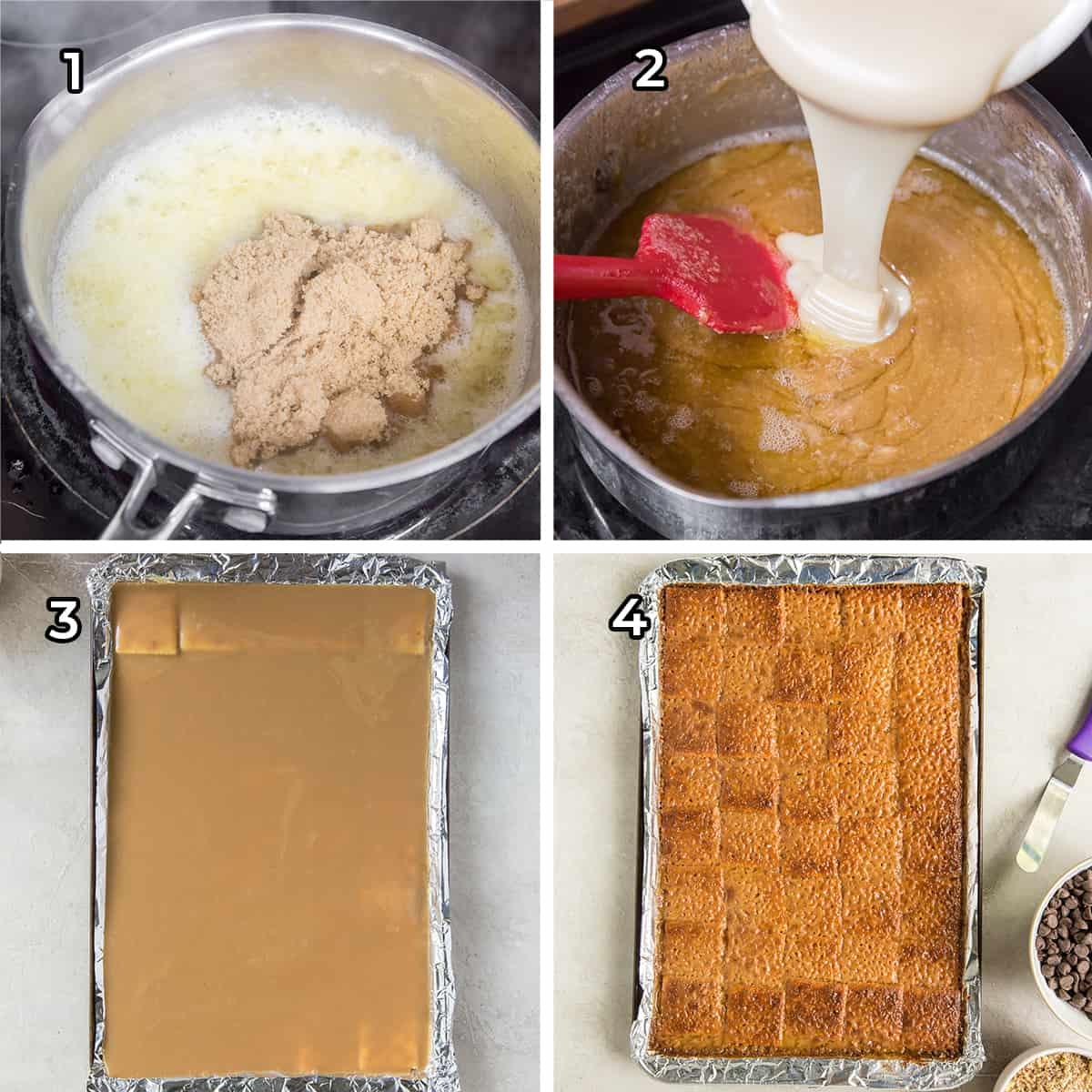 A toffee mixture is combined in a saucepan and poured over saltines.