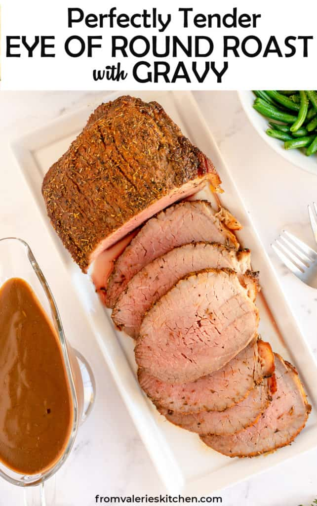 A platter with sliced roast beef with text overlay.