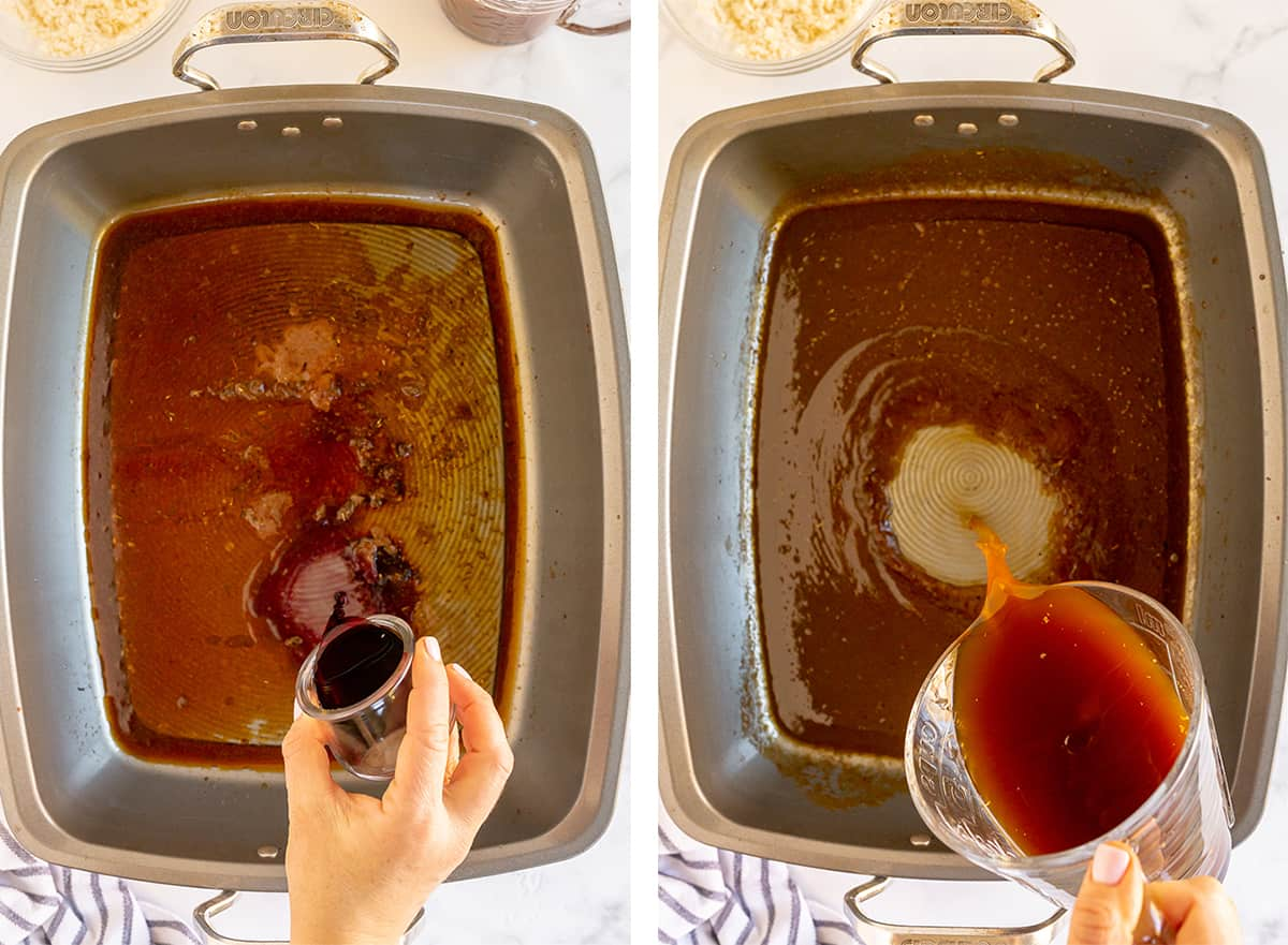 Wine and beef broth are poured into a roasting pan.