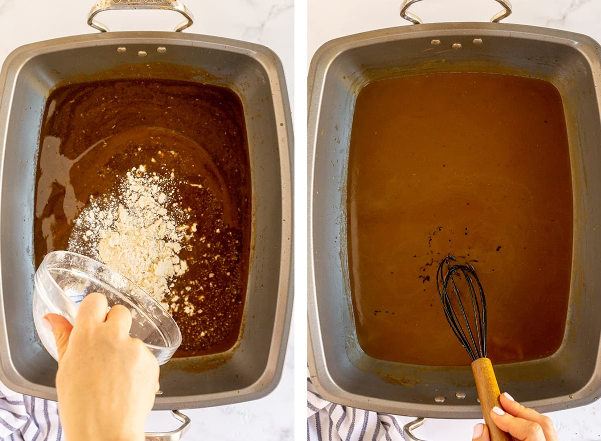 A butter and flour mixture is whisked into gravy in a roasting pan.