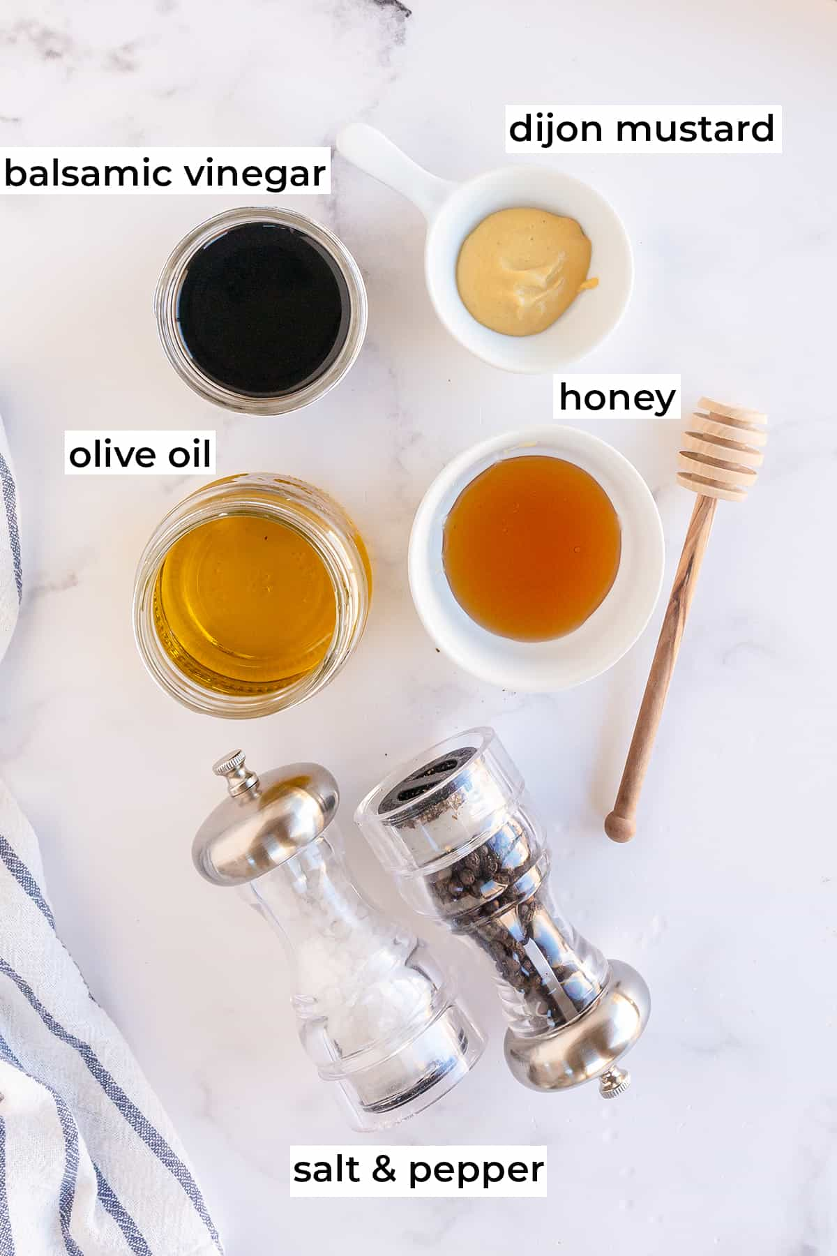 All the ingredients needed to make Honey Balsamic Vinaigrette with text overlay.