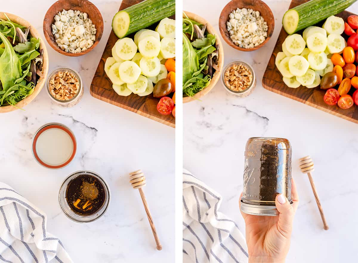 Vinaigrette ingredients are shaken up in a mason jar.