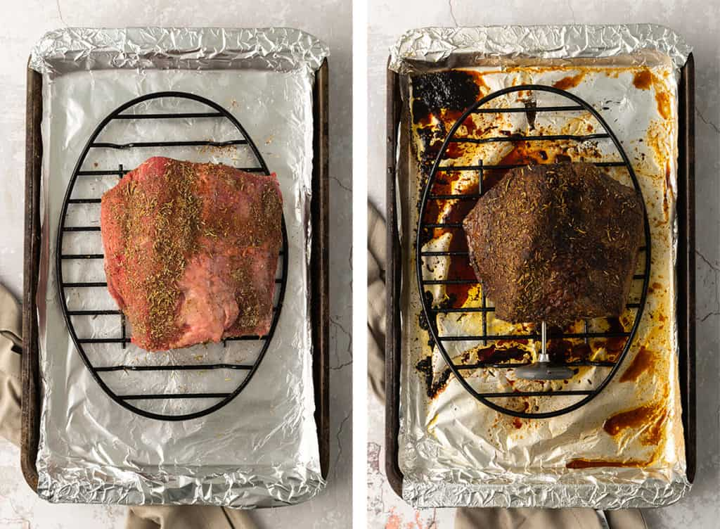 A seasoned beef on a wire rack before and after cooking.