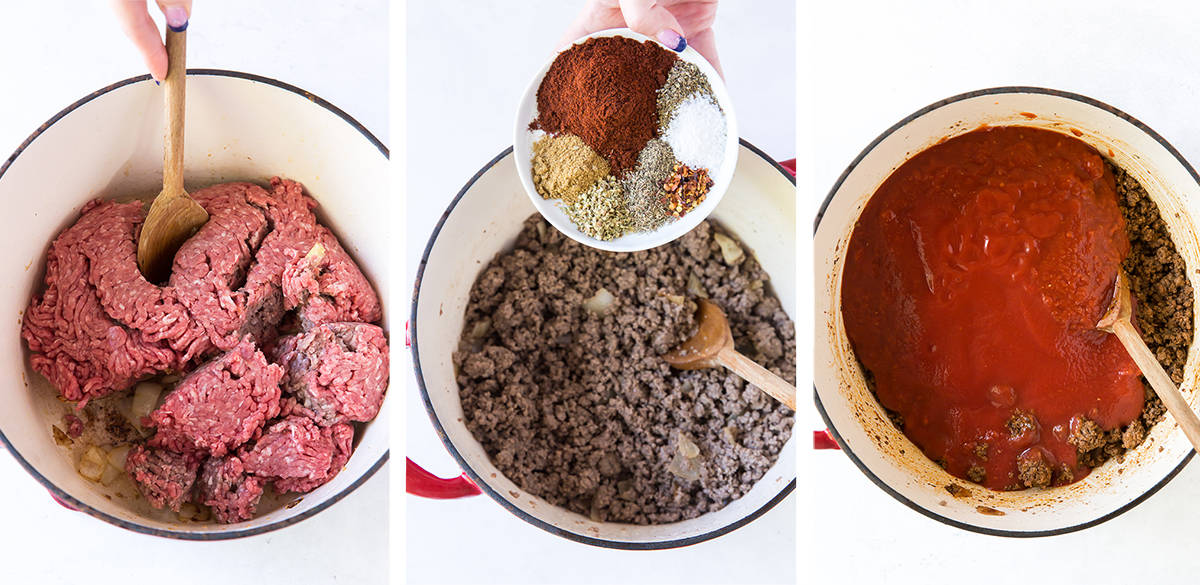 Three images showing ground beef, spices, and crushed tomatoes cooking in a Dutch oven.