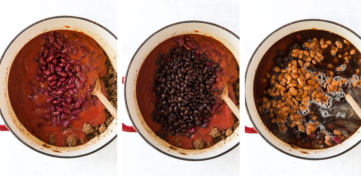 Three images showing beans and beer being added to a pot of chili.