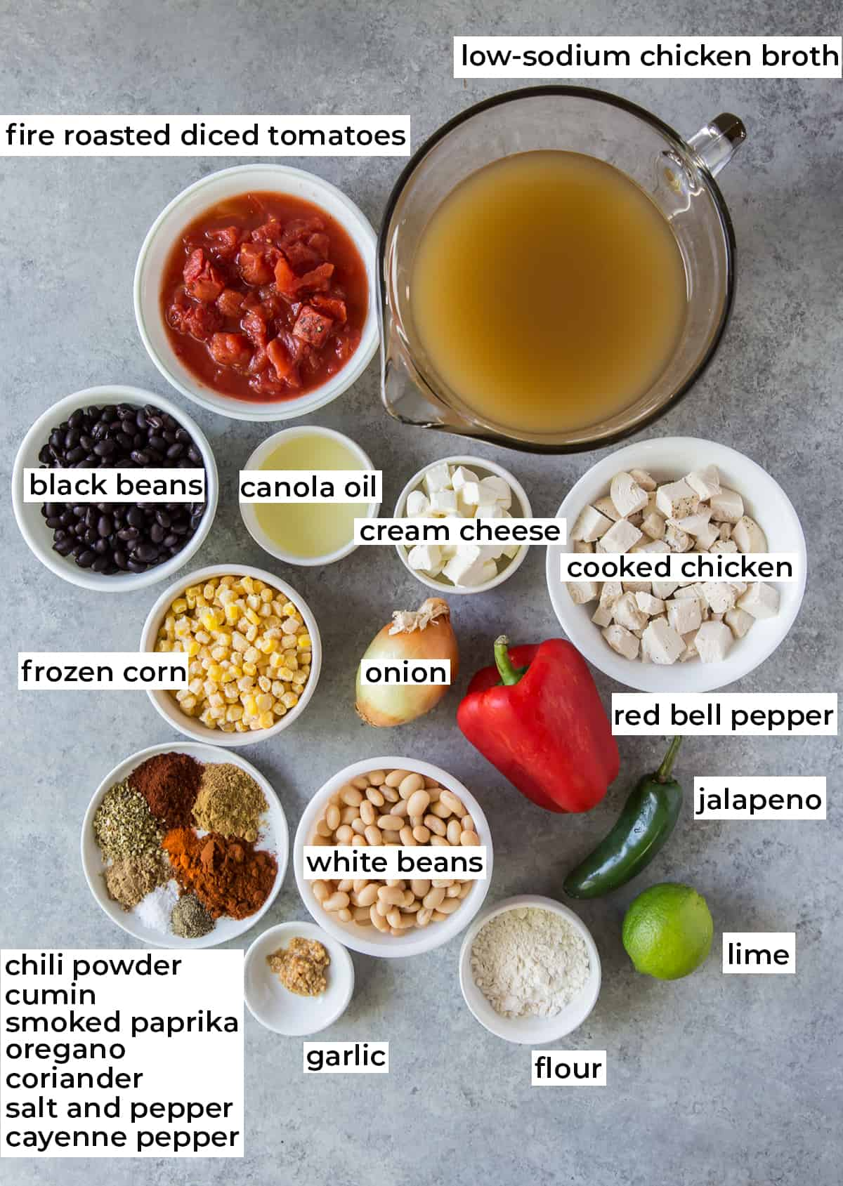 All the ingredients needed for Creamy Southwest Chicken Soup with text overlay.