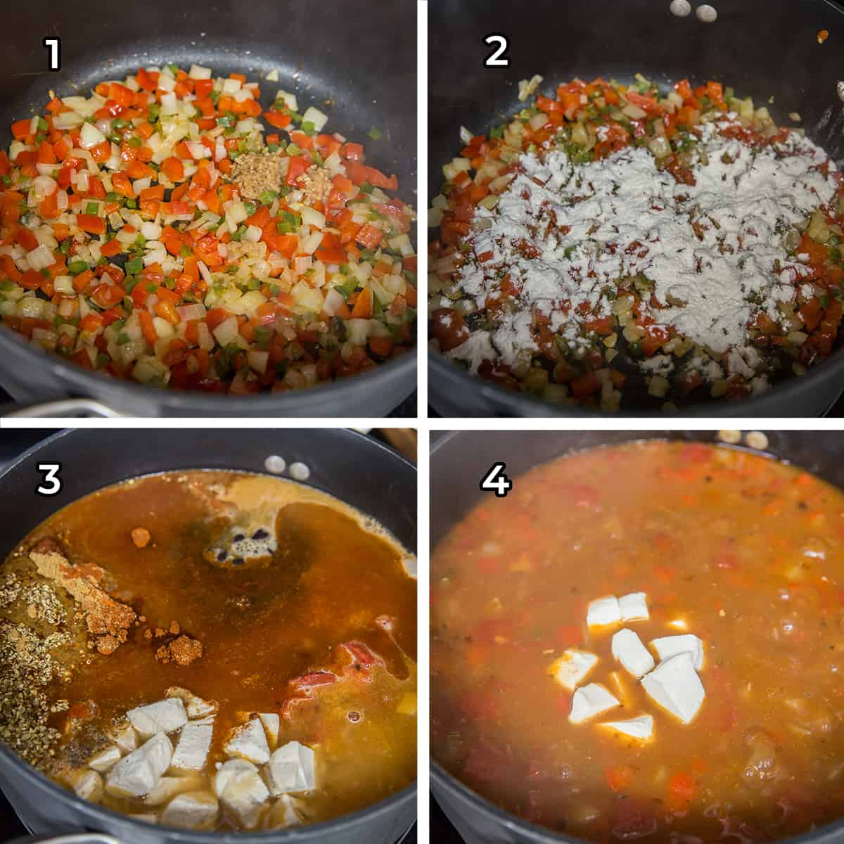 Four images showing soup being prepared in a pot.
