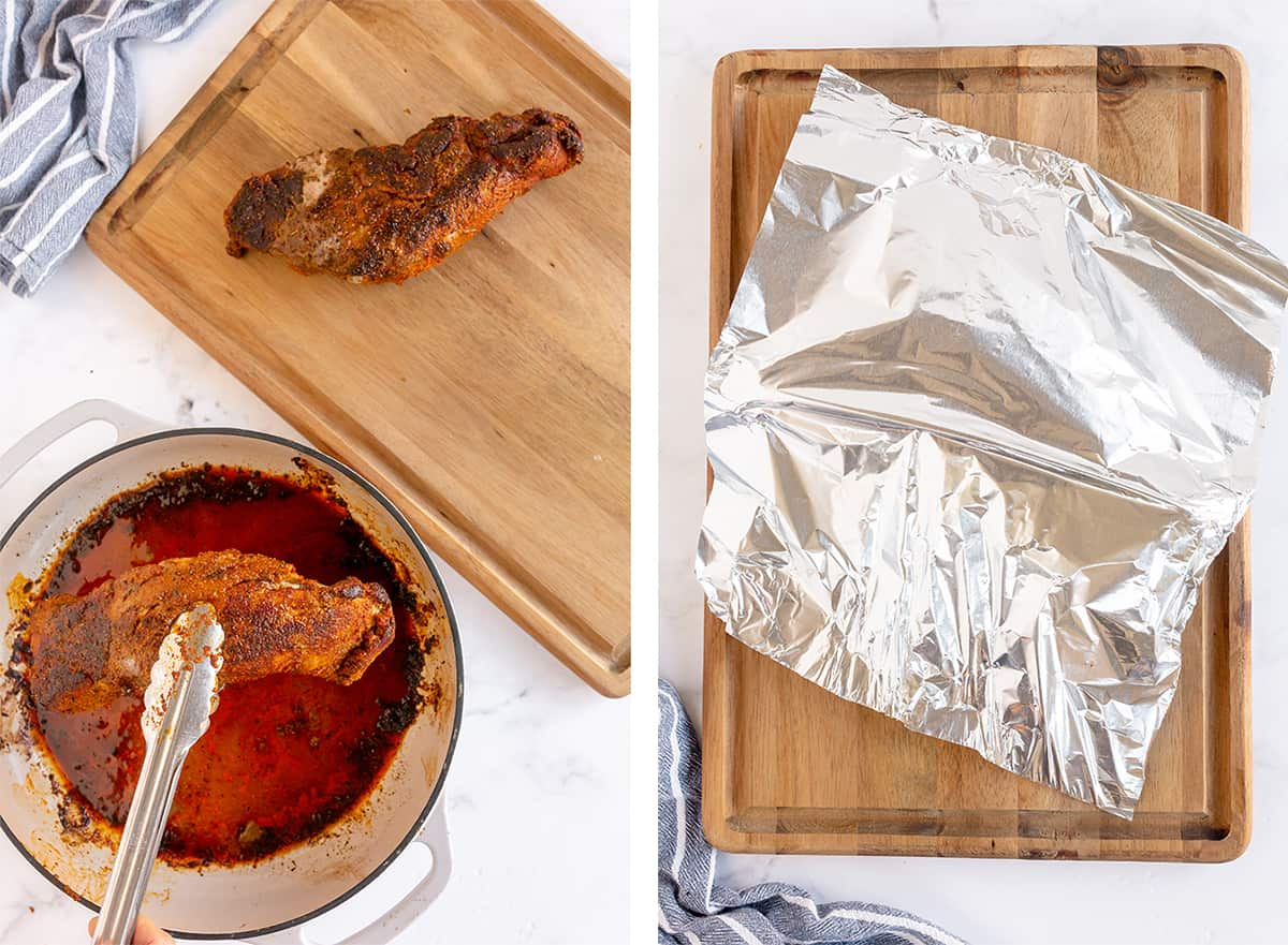 Pork tenderloin is transferred to a cutting board and tented with foil.