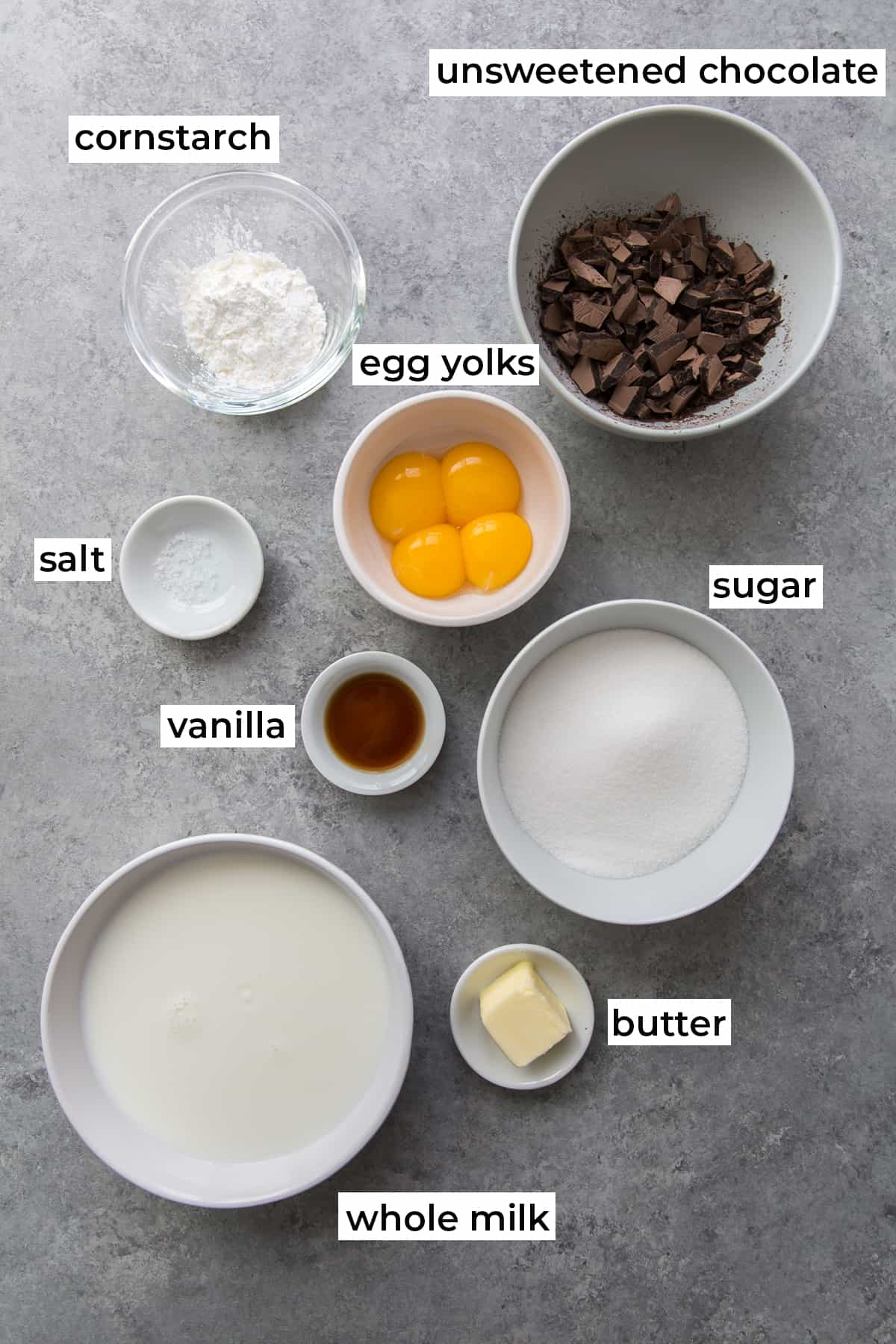 All the ingredients needed to make Chocolate Cream Pie with text overlay.