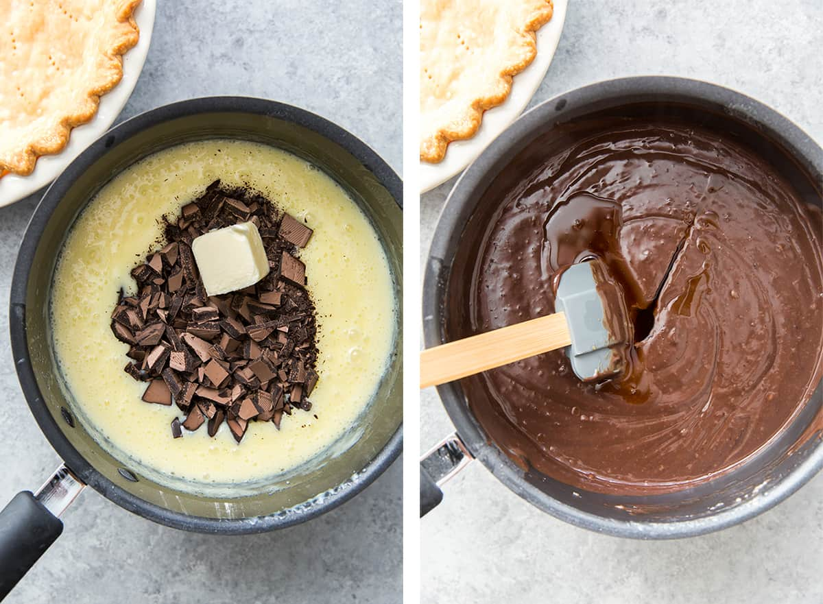 Chocolate and butter are added to an egg mixture in a saucepan.