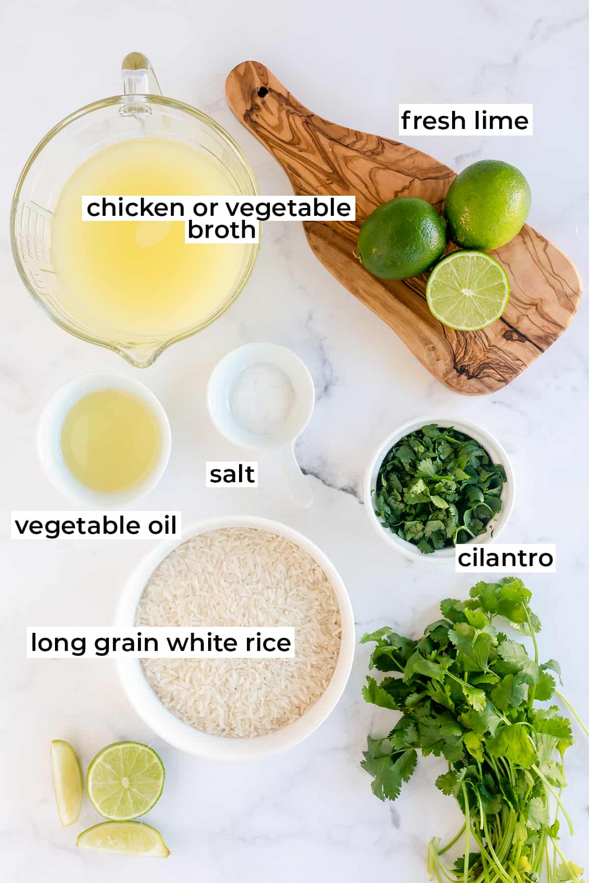 The ingredients for making Cilantro Lime Rice with text overlay.