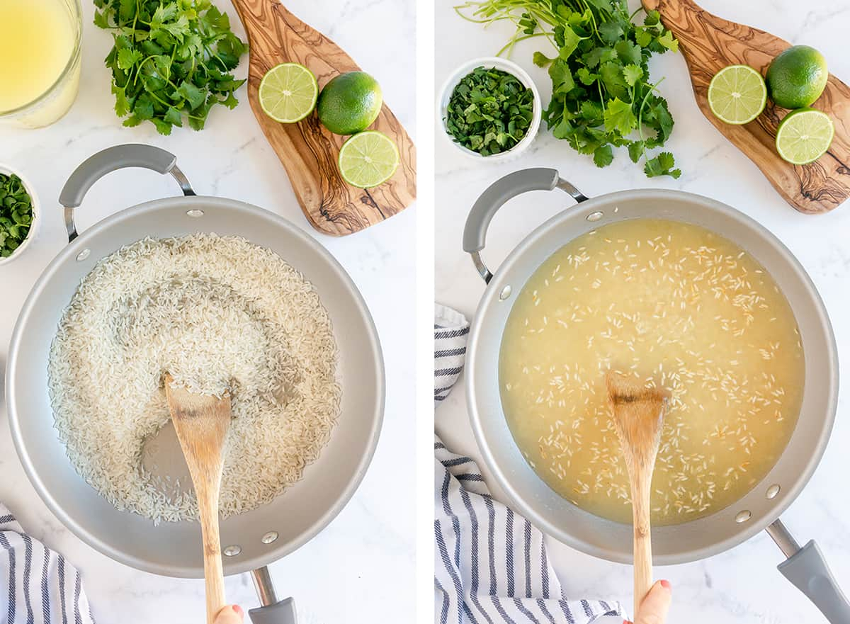 A spoon stirs rice and broth in a skillet.
