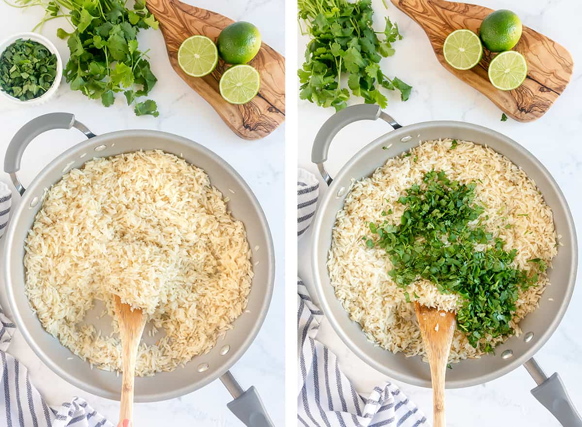 Cooked rice with cilantro in a skillet.