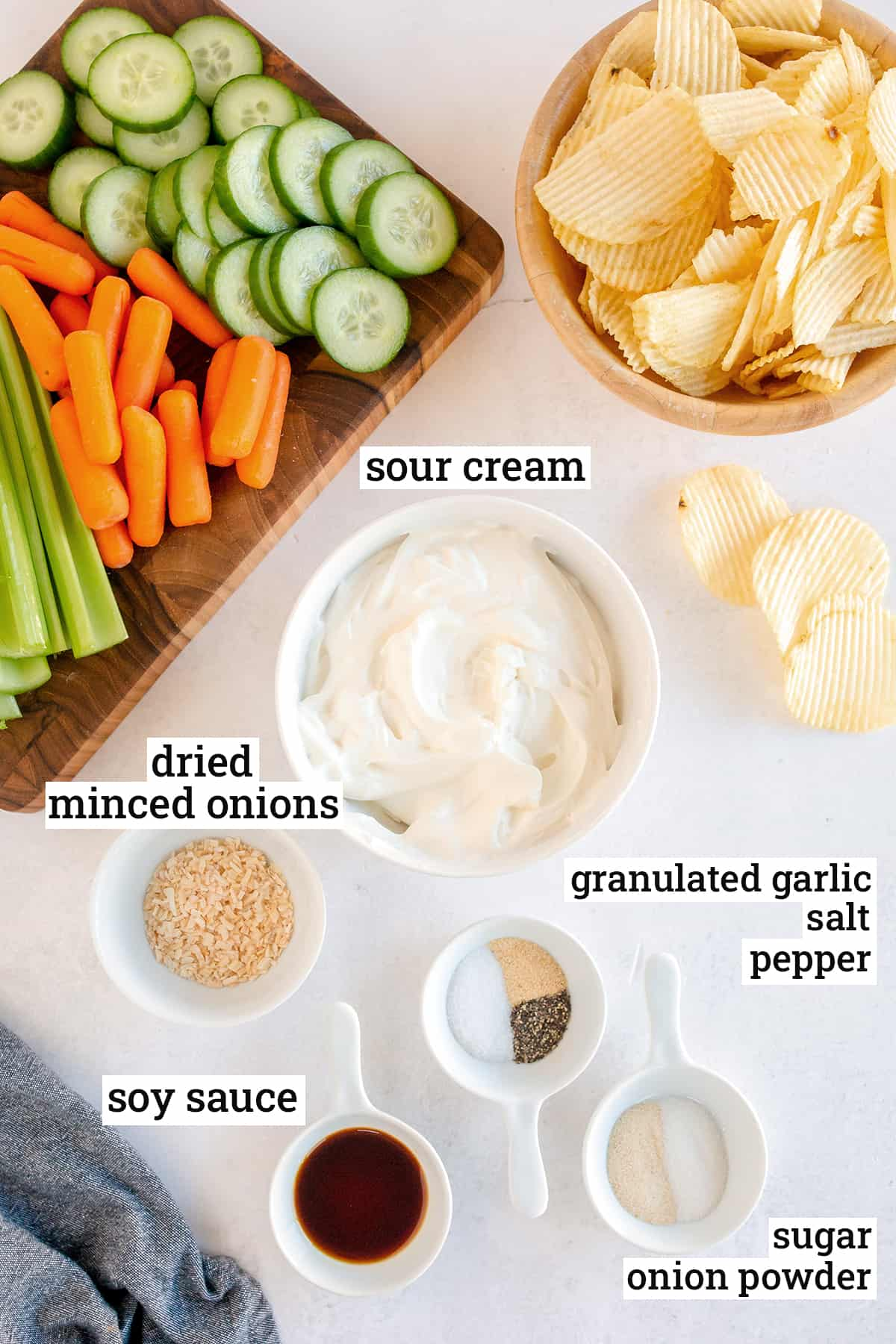 All the ingredients needed to make French Onion Dip from Scratch with text overlay.