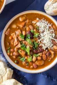 A bowl of Instant Pot 15 Bean Soup shot from over the top.