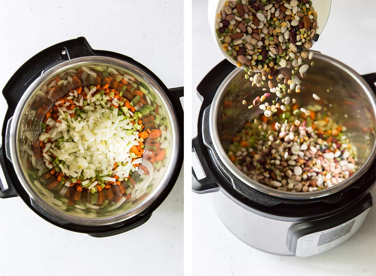 Vegetables are added to an Instant Pot.