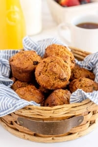 A basket lined with a blue cloth and filled with bran muffins.