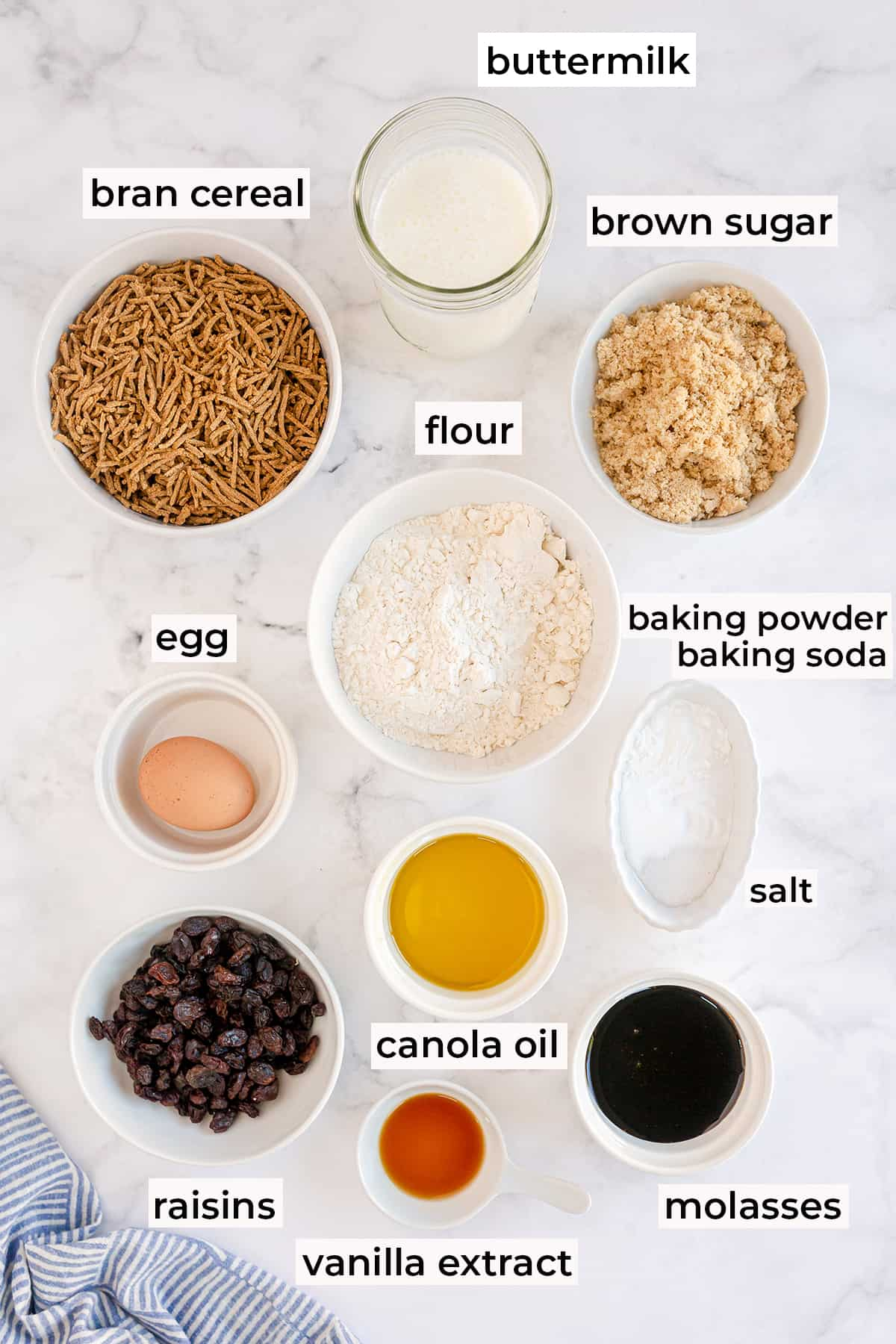 The ingredients for Bran Muffins with text overlay.