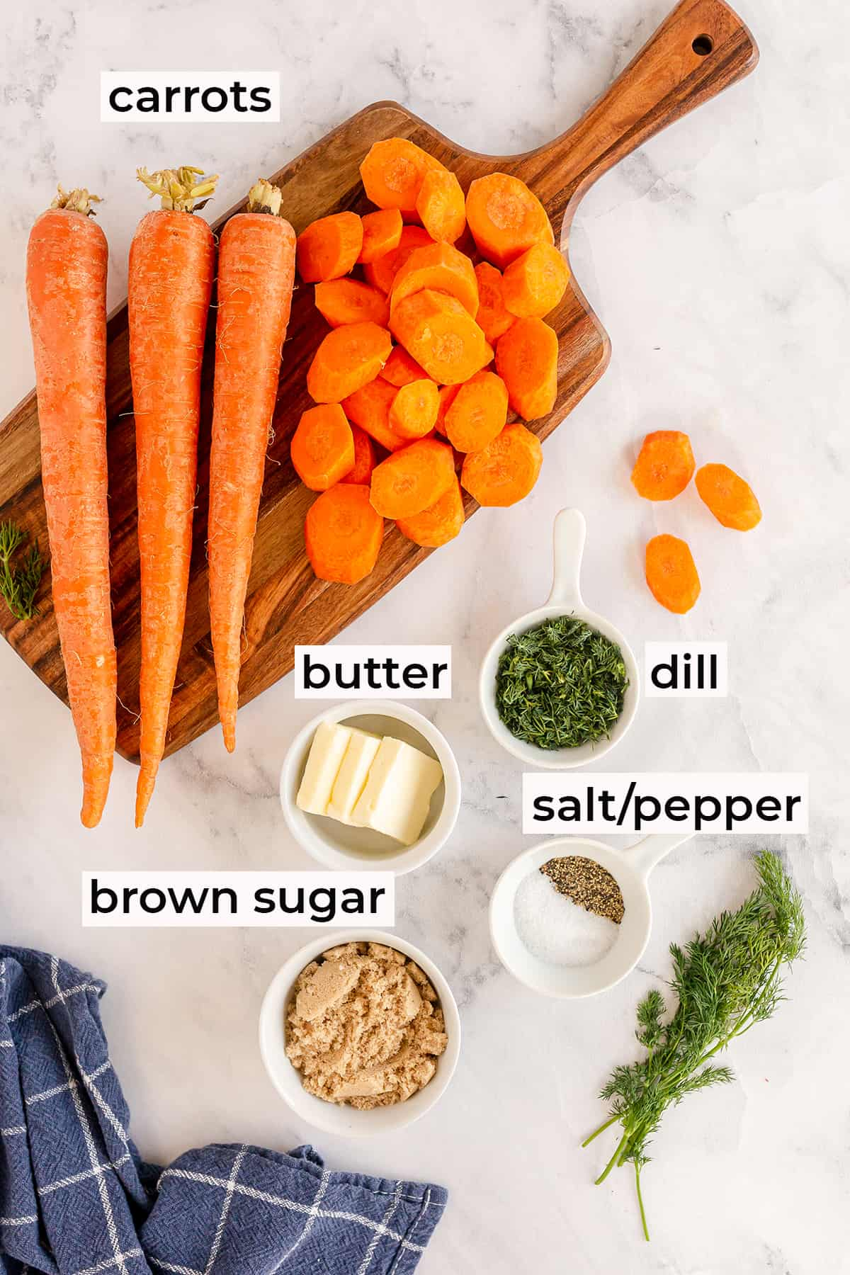 Ingredients to make Brown Sugar Dill Carrots with text overlay.