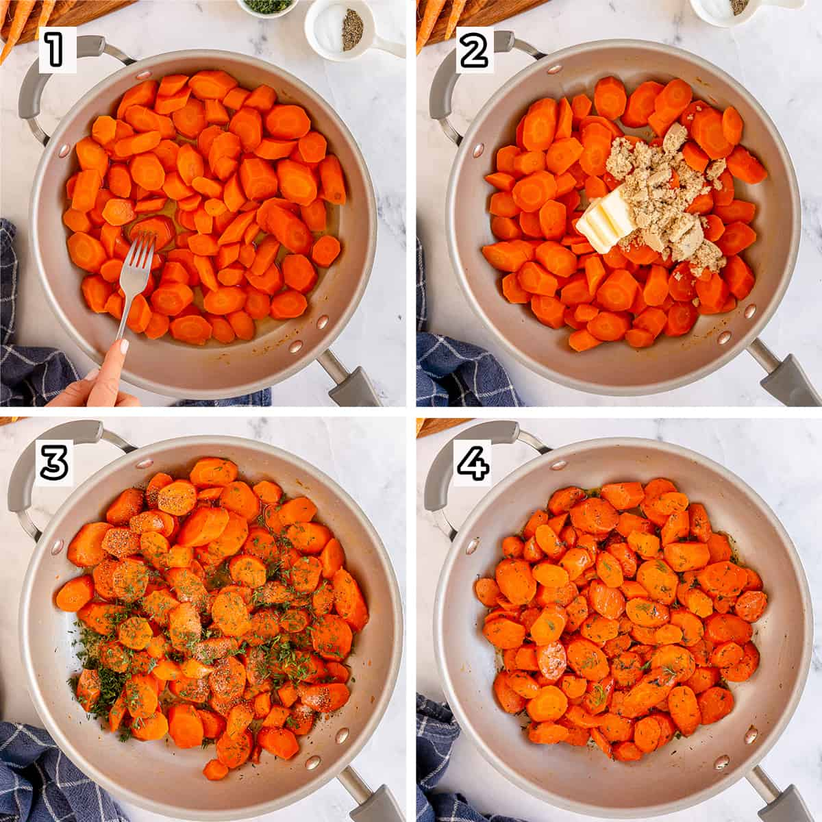 Carrots are cooked with brown sugar and dill in a skillet.