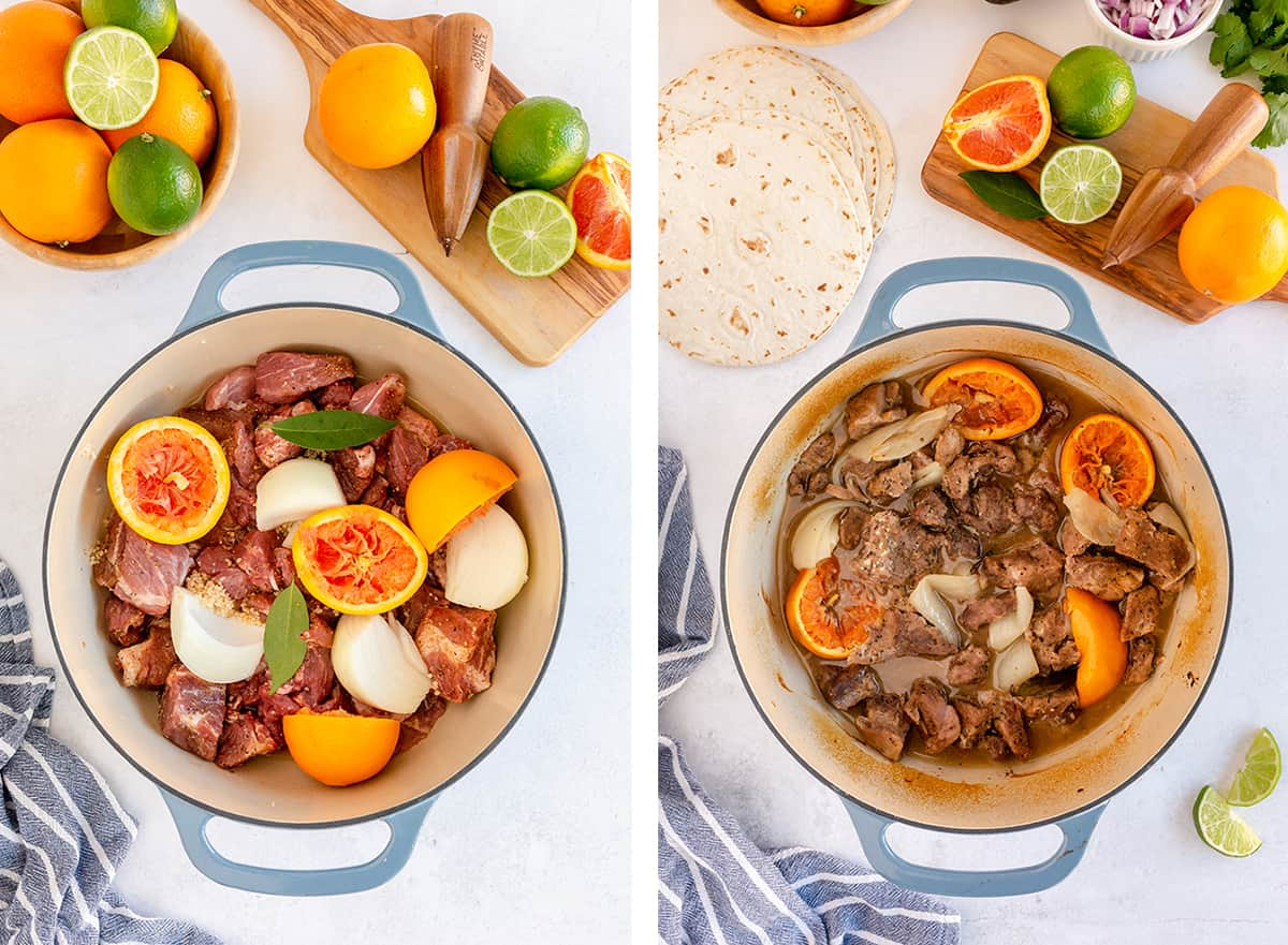 Pork, onions, and oranges in a Dutch oven.
