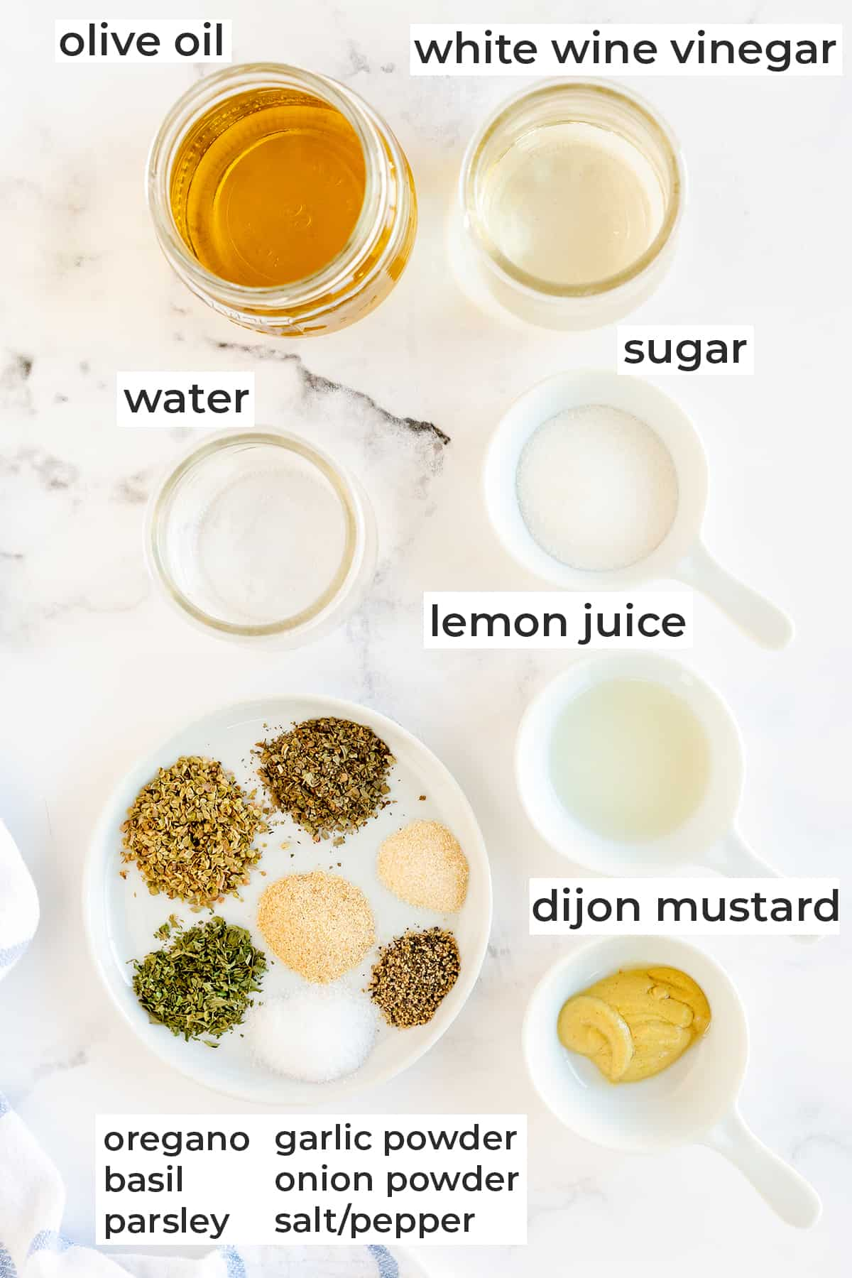 All the ingredients needed to make Homemade Italian Salad Dressing with text overlay.
