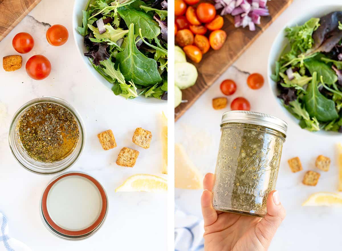 Salad dressing ingredients are shaken in a mason jar.