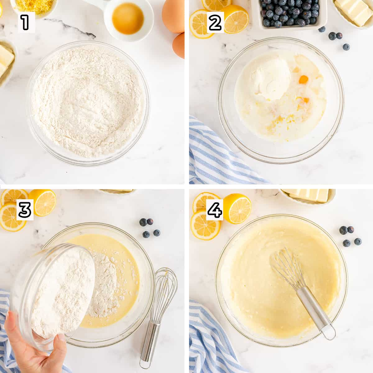Pancake batter is whisked together in a glass mixing bowl.