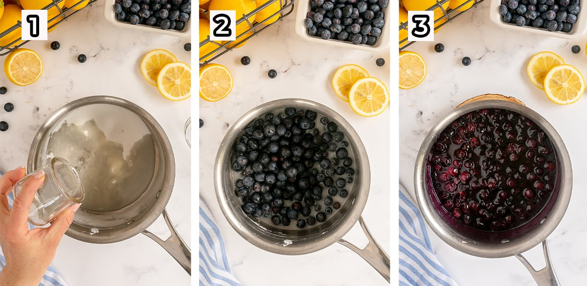 Blueberry sauce cooking in a saucepan.