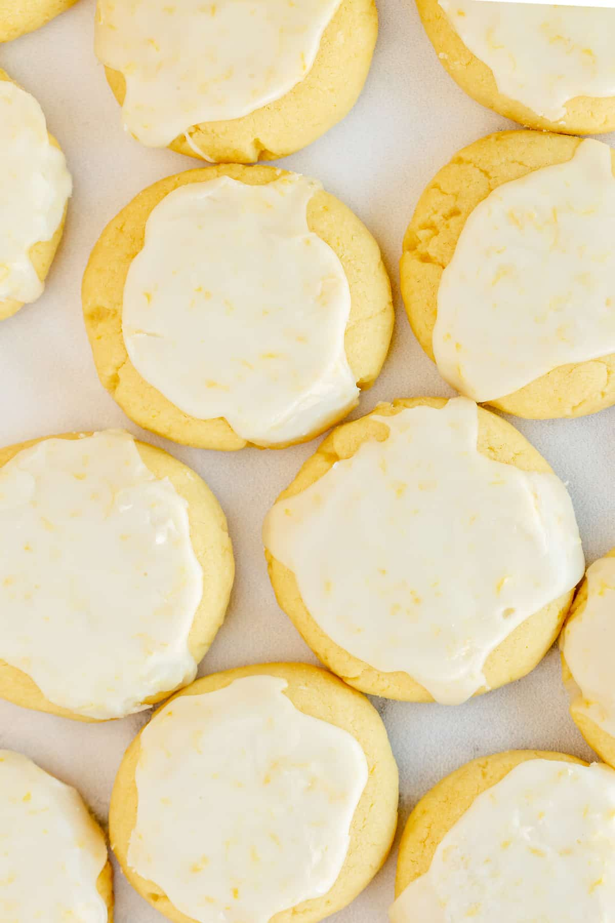 Lemon glazed cookies shot from over the top.