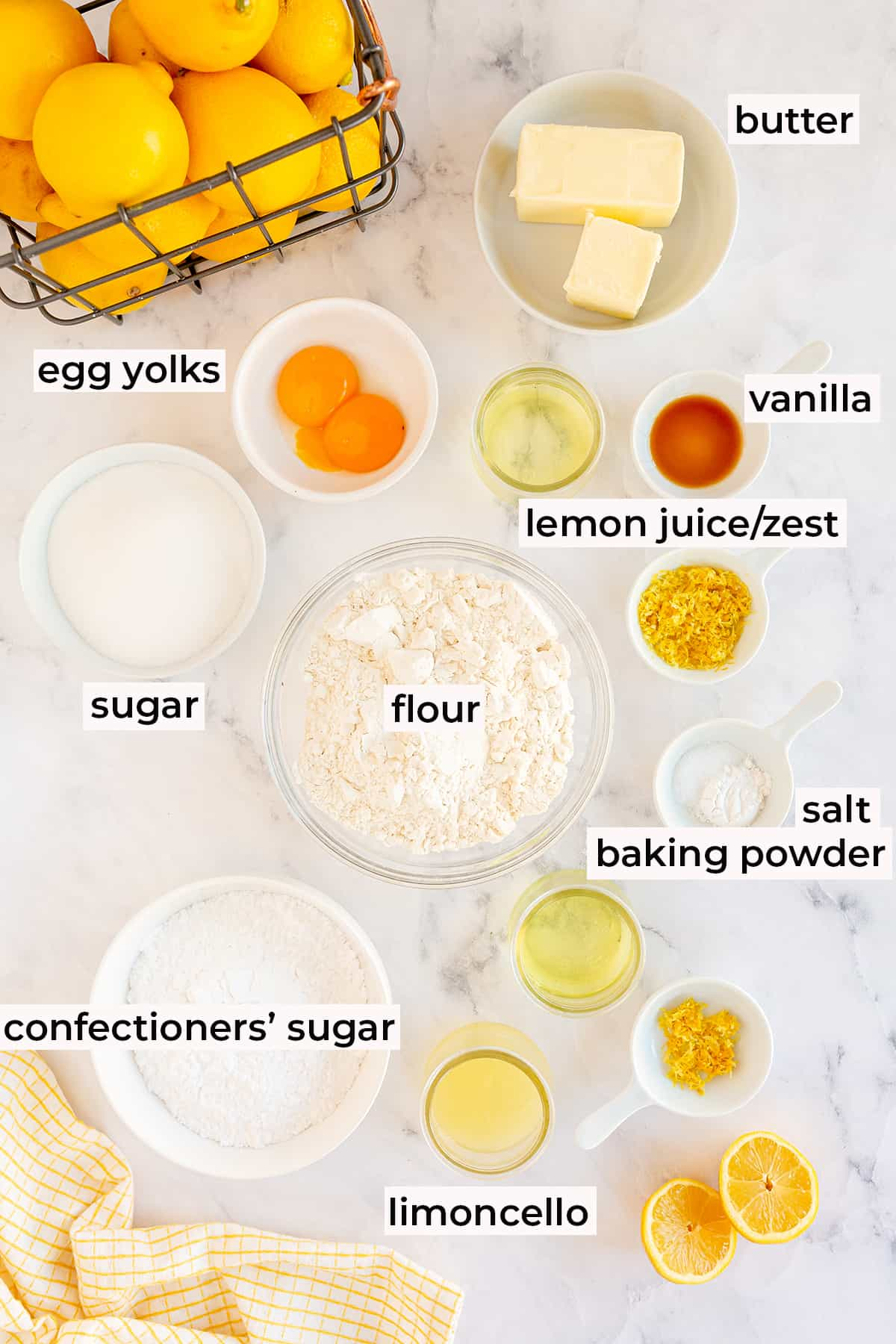 All the ingredients for Limoncello Cookies with text overlay.