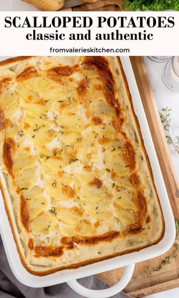 A baking dish of scalloped potatoes with text overlay.