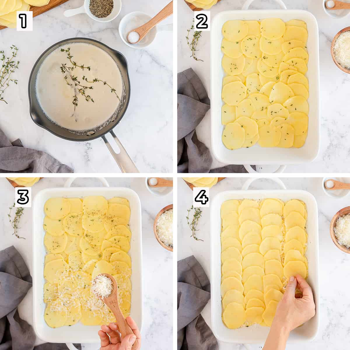 Potatoes are layered in a baking dish and seasoned.