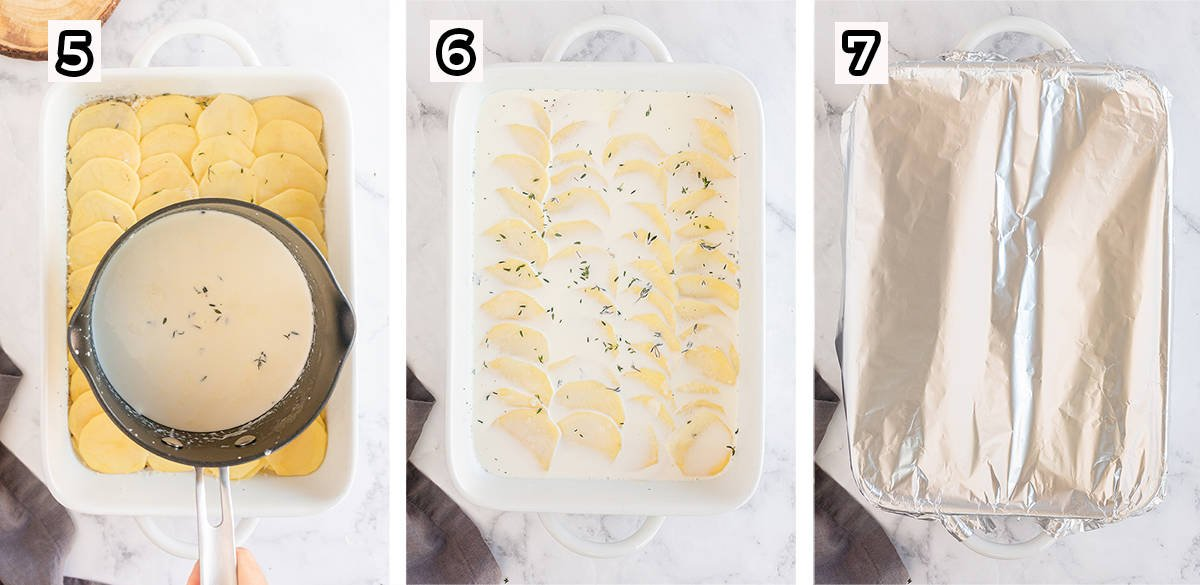 Cream is poured over potatoes and the baking dish covered in foil.