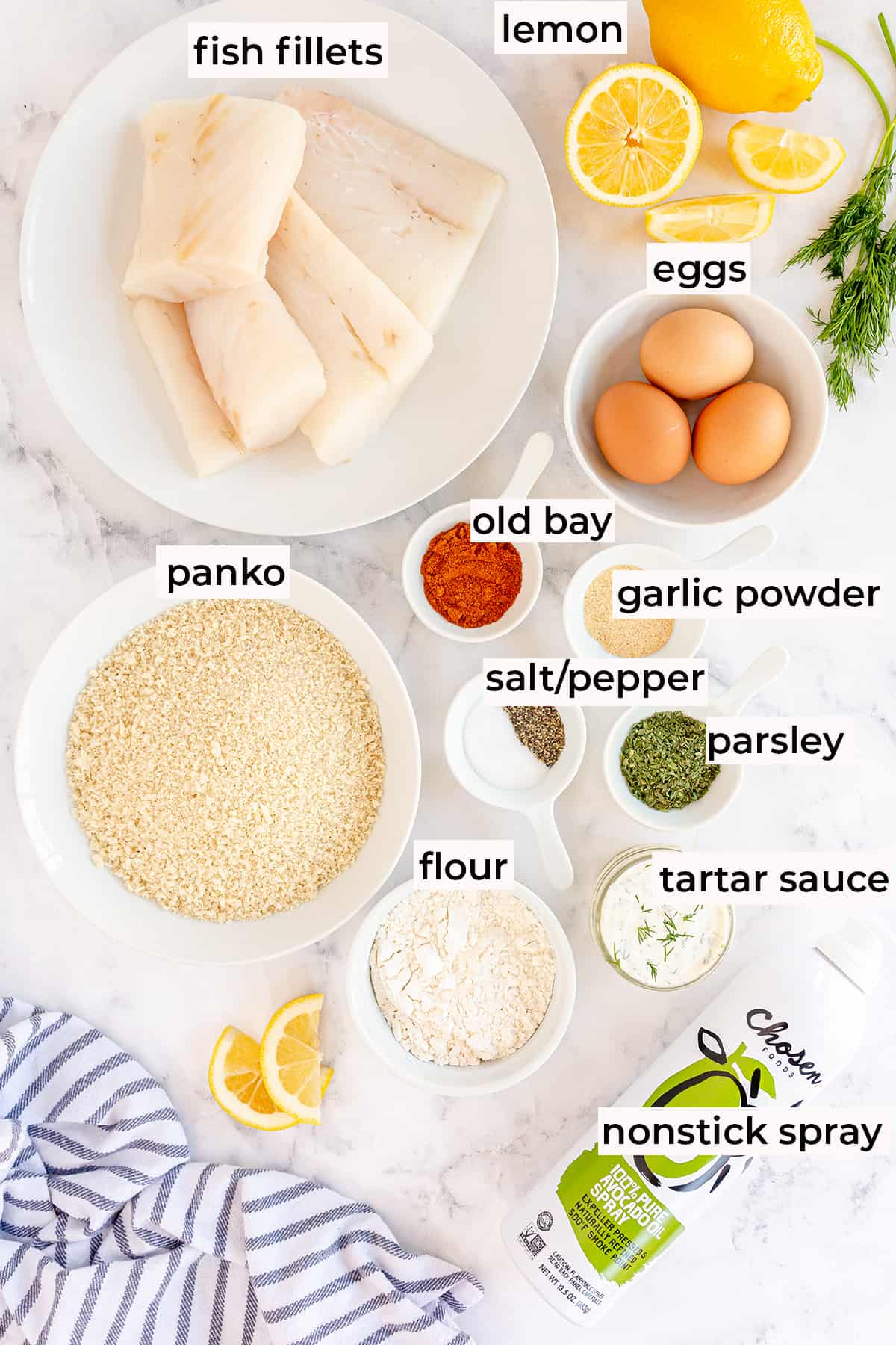 The ingredients for making Air Fryer Fish Sticks with text overlay.