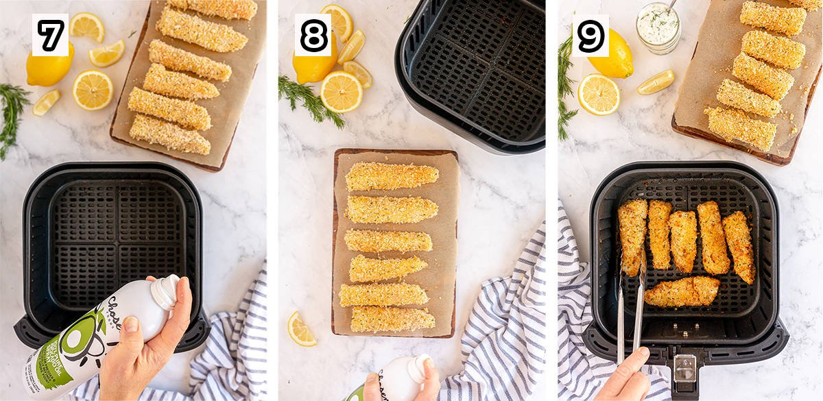 Fish sticks are coated with propellant free cooking spray and cooked in an air fryer.