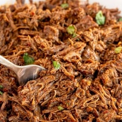 A fork digs into a bowl of Instant Pot Beef Barbacoa.