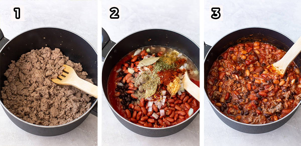Ground turkey and chili ingredients are cooked in a big pot.