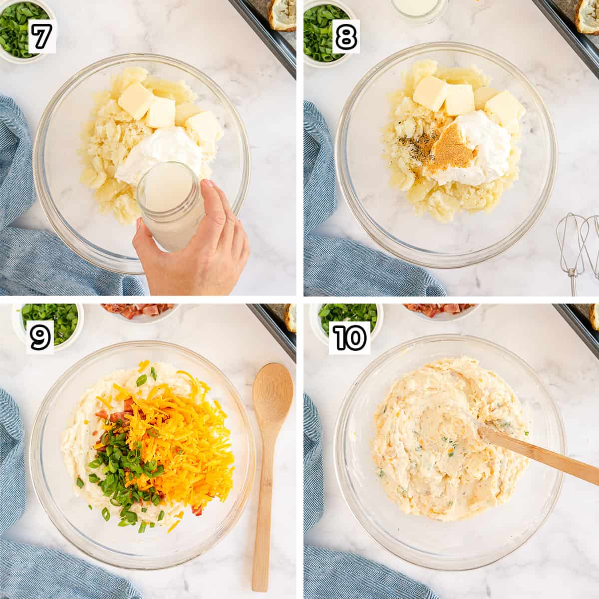 Potato is combined with ingredients in a mixing bowl.