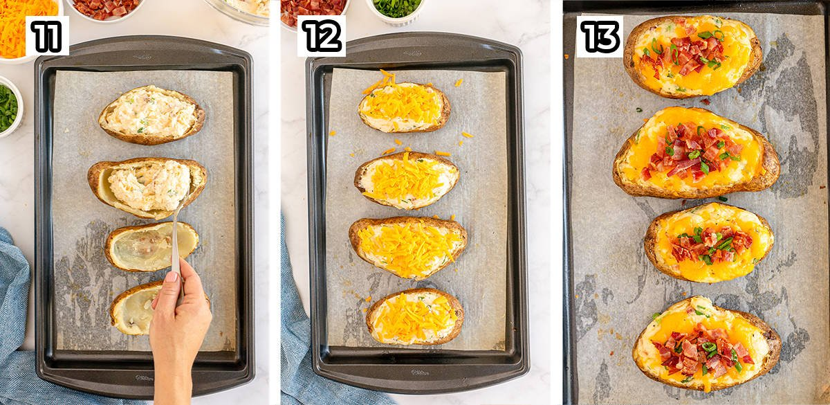 The filling is spooned into potato skins and baked with cheese and bacon.