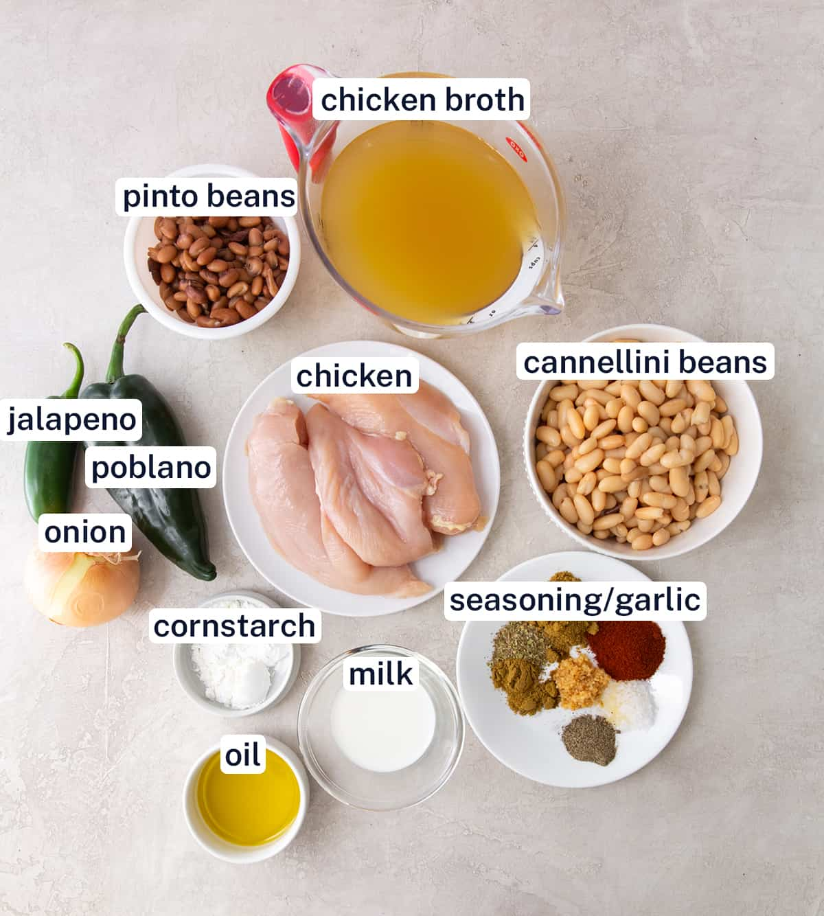 The ingredients for White Chicken Chili with text overlay.