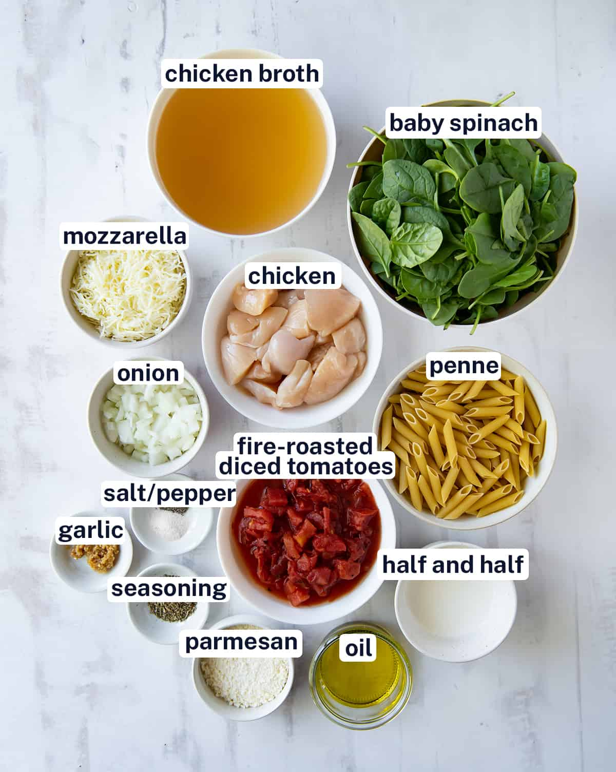The ingredients for Chicken and Spinach Skillet Pasta with overlay text.