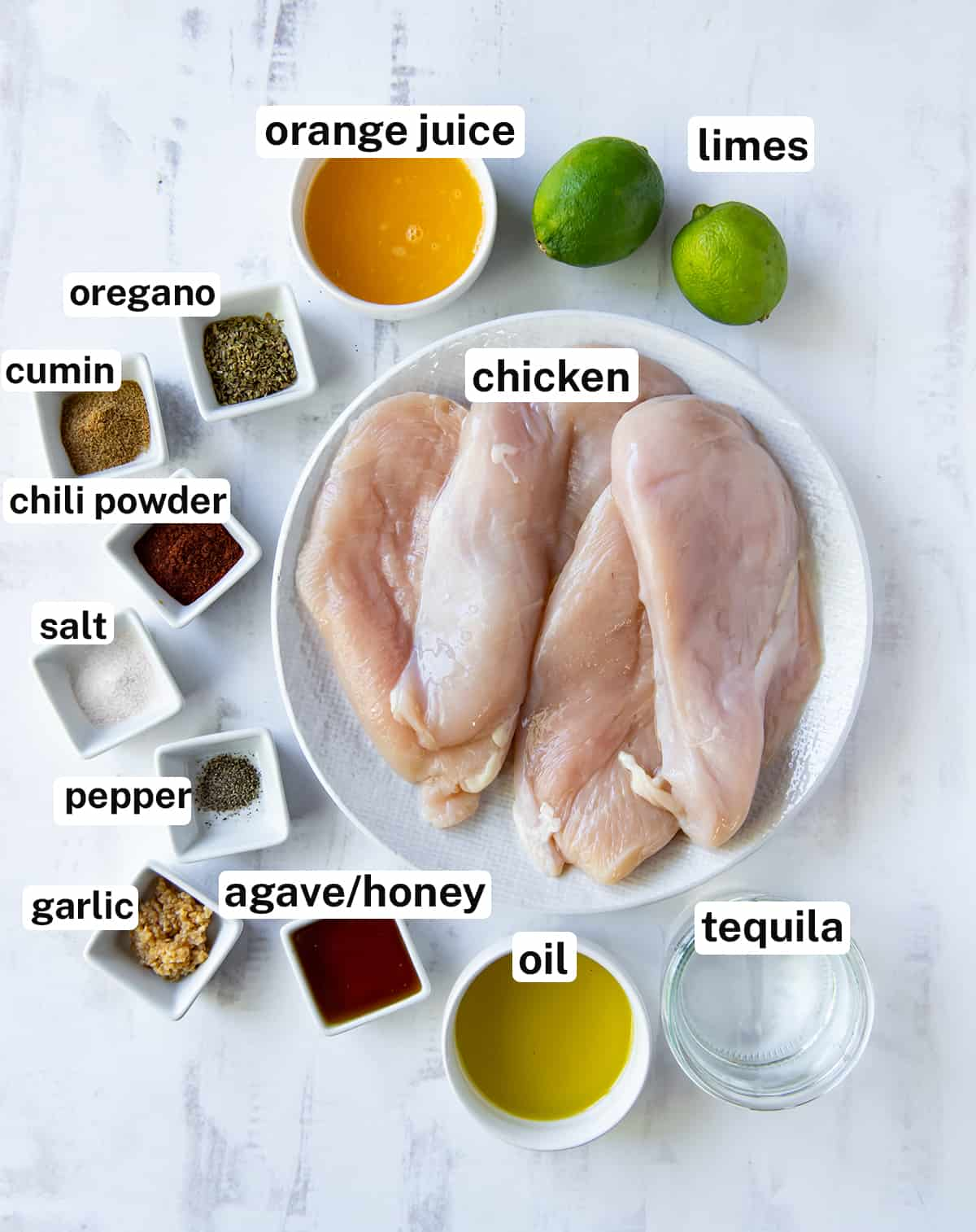 The ingredients for Margarita Chicken with text overlay.
