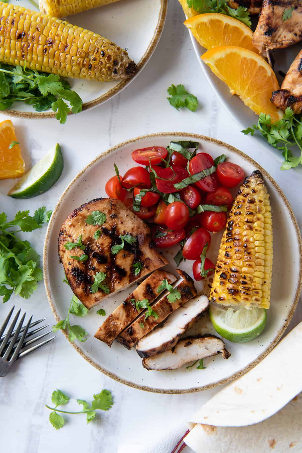 A plate with grilled chicken, cherry tomatoes and corn shot from over the top.